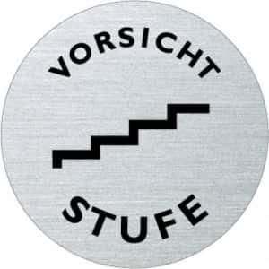 Textschild+Symbol - Vorsicht Stufe