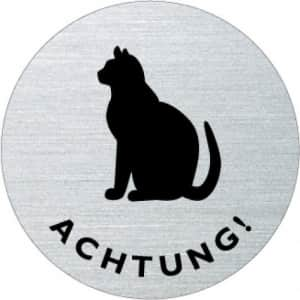 Textschild / Piktogramm - Achtung Katze