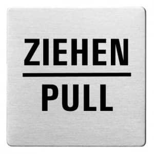 Textschild - Ziehen/Pull (ecken abgerundet)