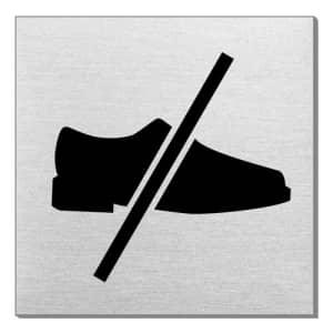 Piktogramm - Mit Schuhen betreten verboten (quadratisch)