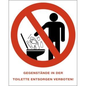 Kombischild Gegenstände in die Toilette werfen verboten