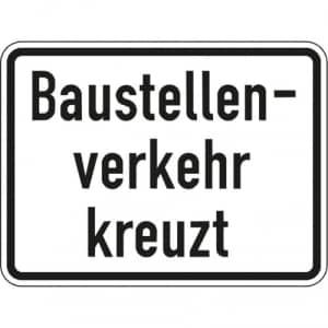 Zusatzschild Baustellenverkehr kreuzt Zusatzzeichen 2132