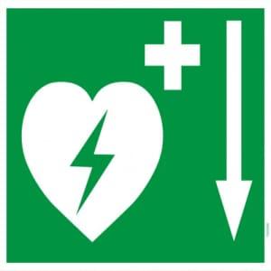 Defibrillator Pfeil unten (BGV A8  VBG 125)