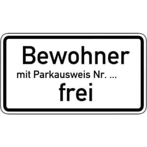 Bewohner mit Parkausweis Nr. ... frei Zusatzschild mit VZ 1020-32