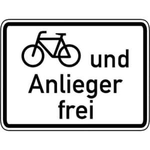 Radfahrer und Anlieger frei Zusatzschild mit VZ 1020-12