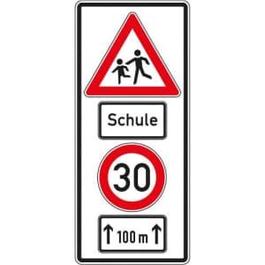 Warnschild Schule mit Geschwindigkeitsangabe