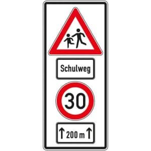 Verkehrszeichen Schulweg mit Geschwindigkeitsangabe