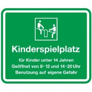 Kinderspielplatz - geöffnet von 8-12 und 14-20 Uhr