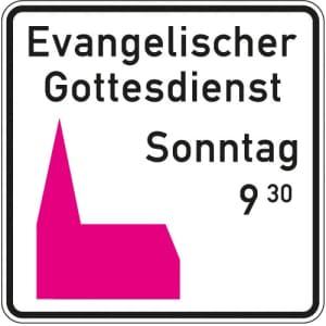 Kirchenschild - rosa Piktogramm