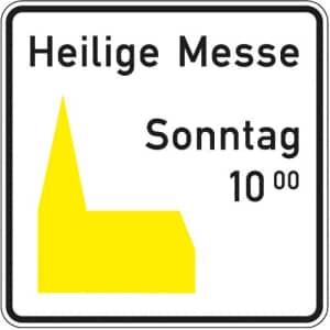 Kirchenschild - gelbes Piktogramm