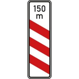 Bake mit Entfernungsangabe (dreistreifig) VZ 157-21