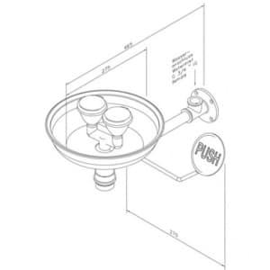 Augendusche mit zwei Brauseköpfen und Auffangbecken (Wandmontage Aufputz)