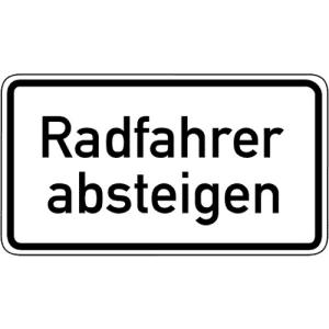 Zusatzschild Radfahrer absteigen Zusatzzeichen 1012-32