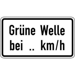 Zusatzschild Grüne Welle bei ... km/h VZ 1012-34