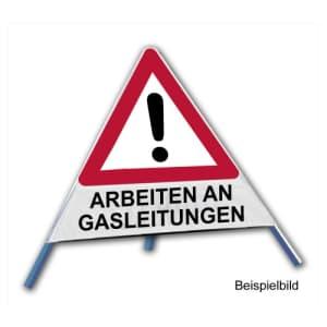 Faltsignal - Gefahrenstelle mit Text: ARBEITEN AN GASLEITUNGEN