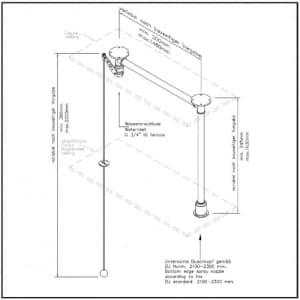 Variable Notdusche mit Zugstange für abgehängte Decken (Deckeneinbau)