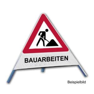Faltsignal - Baustelle mit Text: BAUARBEITEN