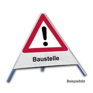 Faltsignal - Gefahrenstelle mit Text: Baustelle