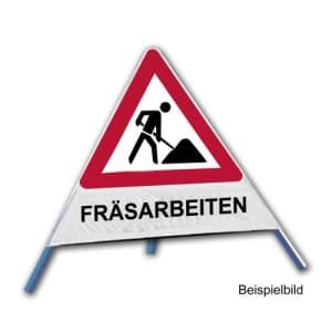 Faltsignal - Baustelle mit Text: FRÄSARBEITEN