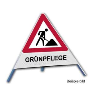Faltsignal - Baustelle mit Text: GRÜNPFLEGE