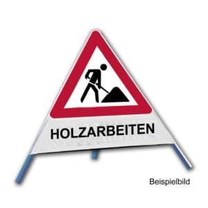 Faltsignal - Baustelle mit Text: HOLZARBEITEN