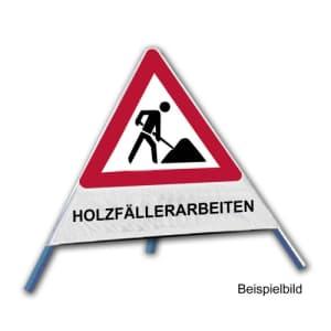 Faltsignal - Baustelle mit Text: HOLZFÄLLERARBEITEN