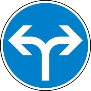 VZ 214-30 - Verkehrsschild Fahrtrichtung links o. rechts