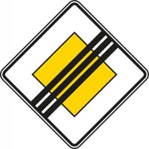 Verkehrsschild Vorfahrtstraße Ende VZ 307