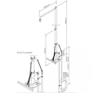 Frostsichere Notdusche mit Unterflurauslösung (Bodenmontage)