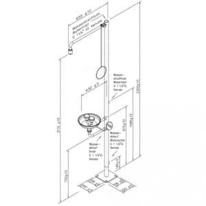 Notdusche mit Zugstange und Augendusche mit Auffangbecken und Ablaufanschluss (Bodenmontage)