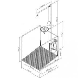 Notdusche mit Zugstange und Augendusche mit Auffangbecken und umliegendem Schutzkorb