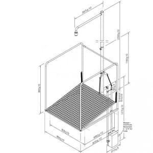 Frostsichere Notdusche mit umliegendem Schutzkorb - Unterflurauslösung