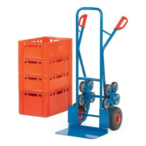 Stahlrohr-Treppenkarre mit großer Schaufel, Luftbereifung und Treppensternen - Tragkraft 200 kg