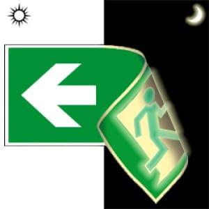 Rettungsweg links/rechts doppelseitig nach ISO 7010 (E 001+E 002), ISO 3864, ISO 16069
