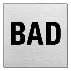 Textschild - Bad (quadratisch)