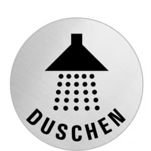 Textschild+Symbol  - Duschen (rund)