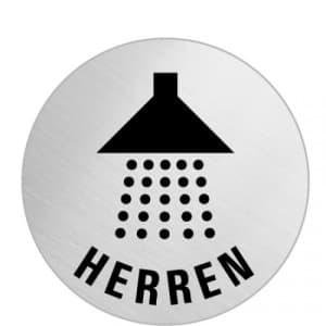 Textschild+Symbol  - Dusche Herren (rund)
