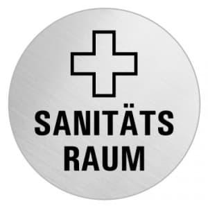 Textschild+Symbol - Sanitätsraum (rund)