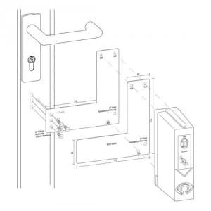 Montageplatte für Türwächter für Glasrahmentüren