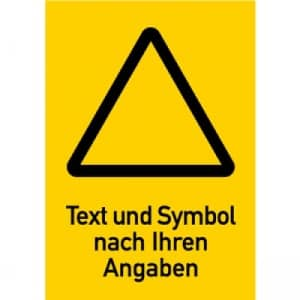 Warnzeichen mit Text und Standardsymbol nach Ihren Angaben, Kombischild gelb