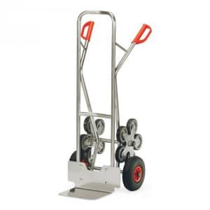 Alu-Treppenkarre mit kleiner Schaufel, Luftbereifung und Treppensternen - Tragkraft 200 kg