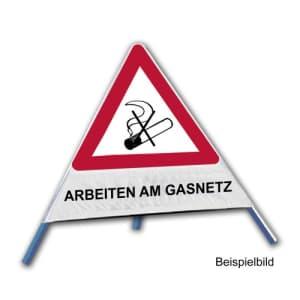 Faltsignal - Rauchverbot mit Text: ARBEITEN AM GASNETZ