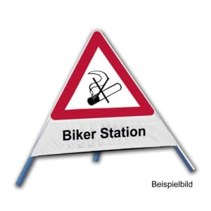 Faltsignal - Rauchverbot mit Text: Biker Station