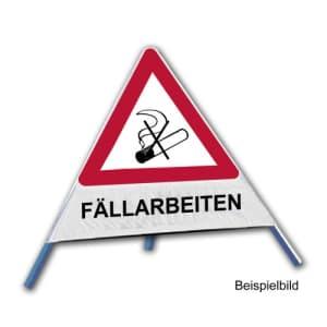 Faltsignal - Rauchverbot mit Text: FÄLLARBEITEN