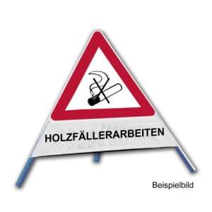 Faltsignal - Rauchverbot mit Text: HOLZFÄLLERARBEITEN