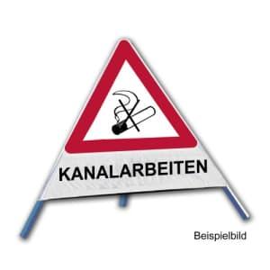 Faltsignal - Rauchverbot mit Text: KANALARBEITEN