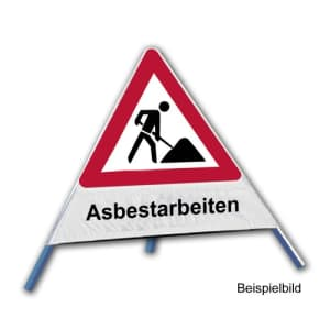 Faltsignal - Baustelle mit Text: Asbestarbeiten