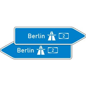 Pfeilwegweiser zur Autobahn VZ 430-40