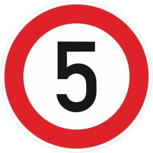 Zulässige Höchstgeschwindigkeit 5 km/h - Verkehrsschild Nr. 274-5