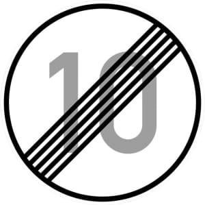 Ende der zulässigen Höchstgeschwindigkeit 10 km/h (Verkehrsschild Nr. 278-10)